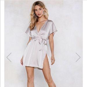 Nasty gal metallic grey dress